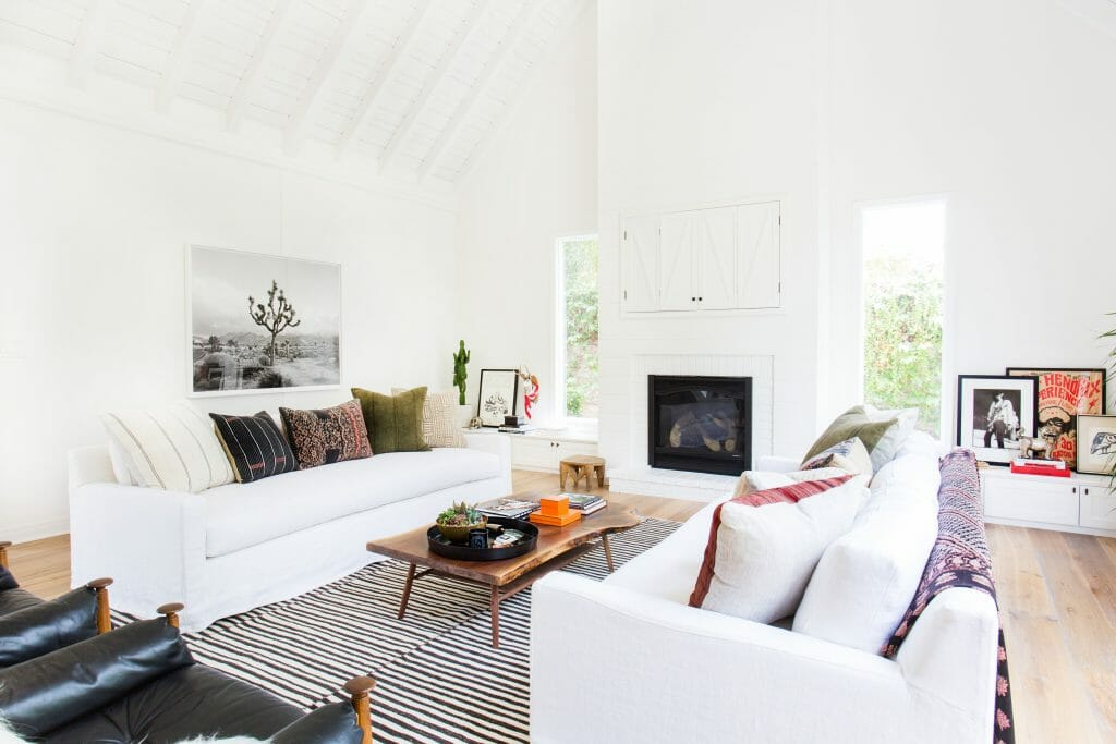 California home design white living room