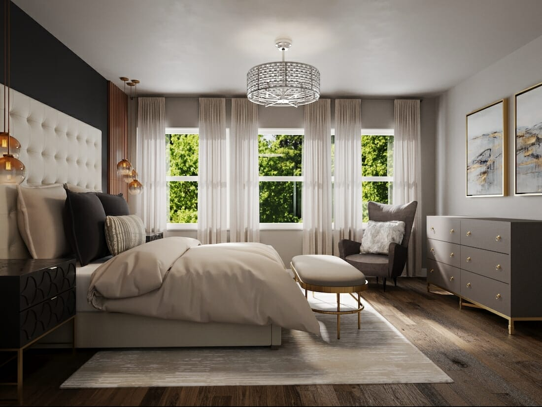 glam small apartment decor with lots of natural light