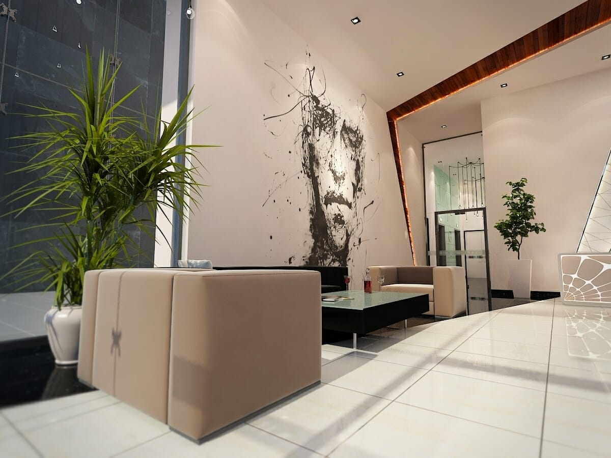 creative startup office interior design with lobby
