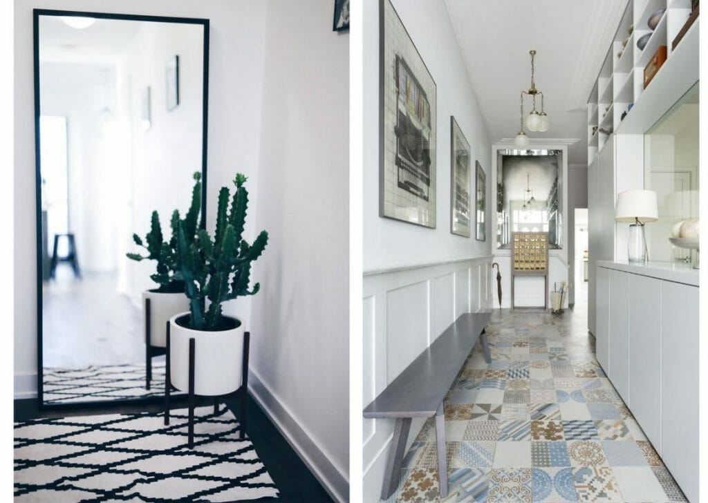hallway decorating ideas mirror