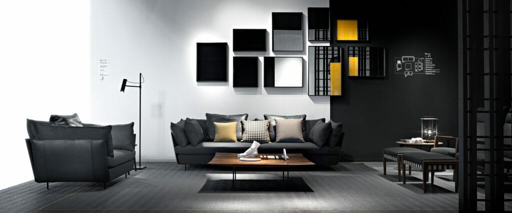 Office interior design for black and white sitting area
