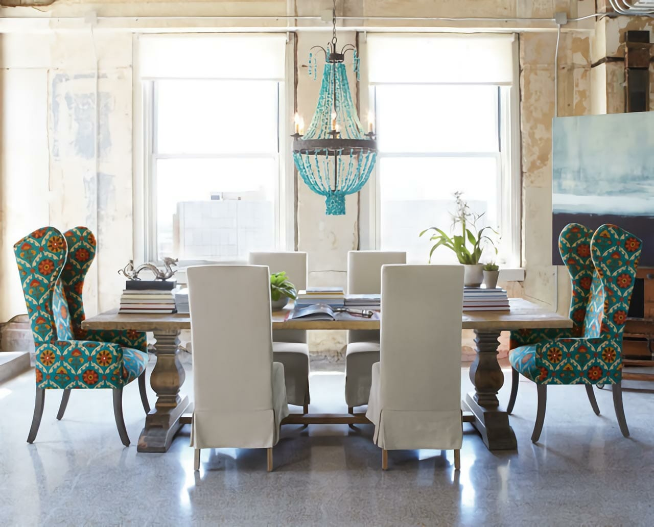 Turquoise upholstered dining chair eclectic interior ideas