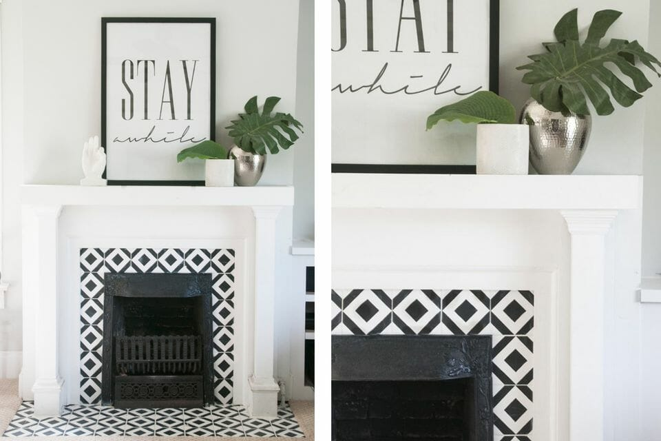 black and white living room decor fireplace