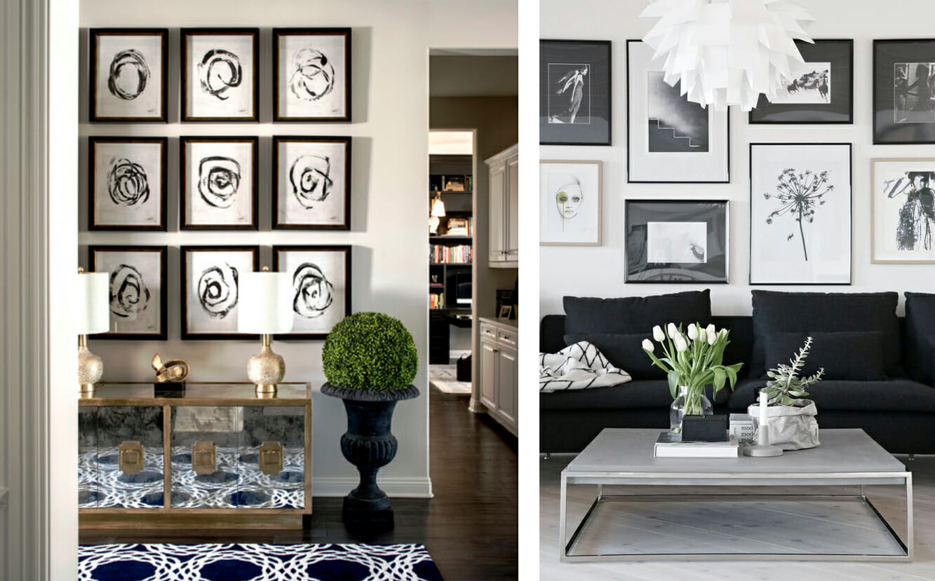 black and white living room decor gallery walls