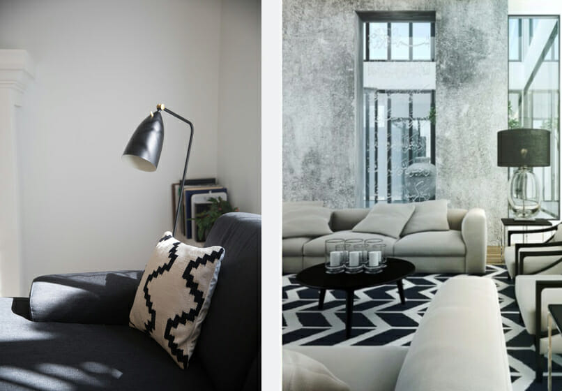 black and white living room decor textiles
