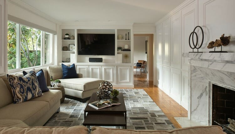 transitional home interior design neutral colored entertainment centre and lounge