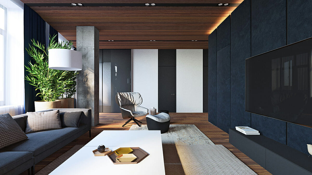 Contemporary-Interior-Design-Living-Room-with-Smart-Television-and-Navy-Walls