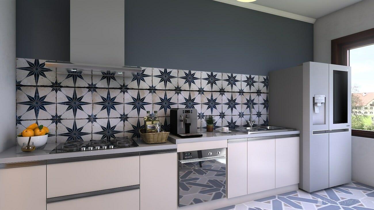 Modern blue accented kitchen by Decorilla and top Denver interior designer, Jacky G.