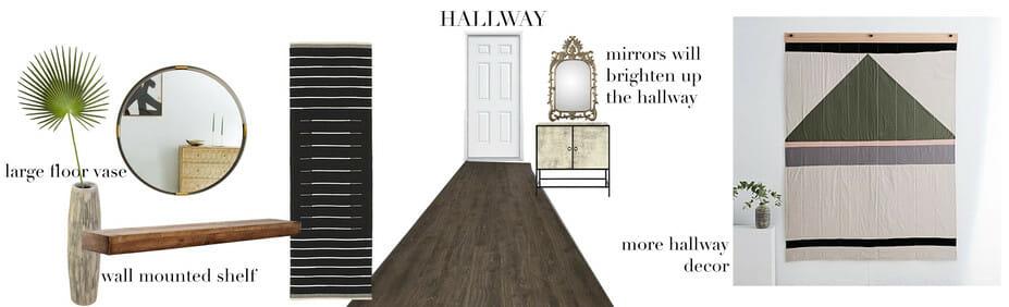 hallway moodboard for eclectic online studio apartment design