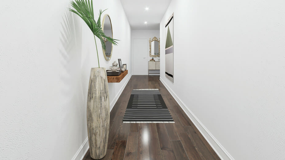 online studio apartment design with eclectic entrance way