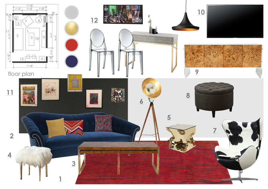 3_Eclectic-Living-Room-Studio-Apartment-Design-Online_Mood_Board