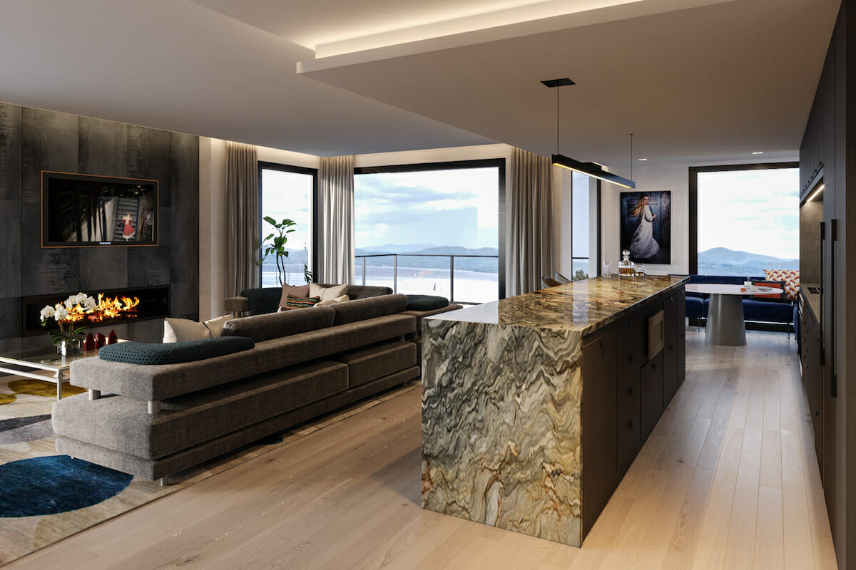 Contemporary glam lake house by one of the best interior designers in seattle sonia c