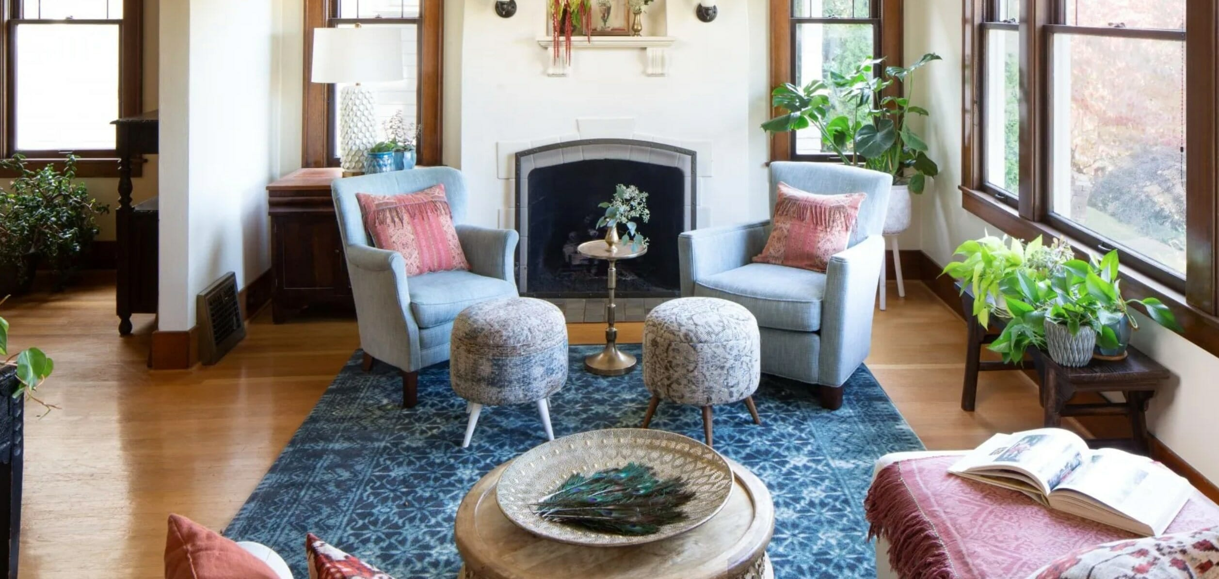 Cozy living room by interior decorator seattle kristen conner