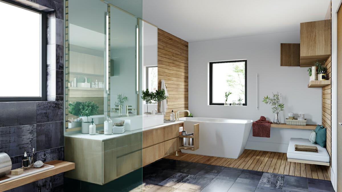 Spa-like bathroom by interior decorator seattle sonia carlson
