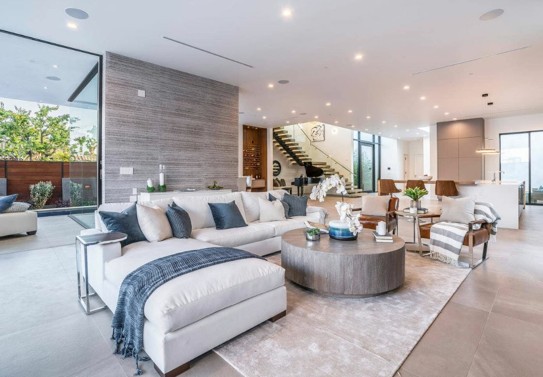 contemporary home design online great room feature