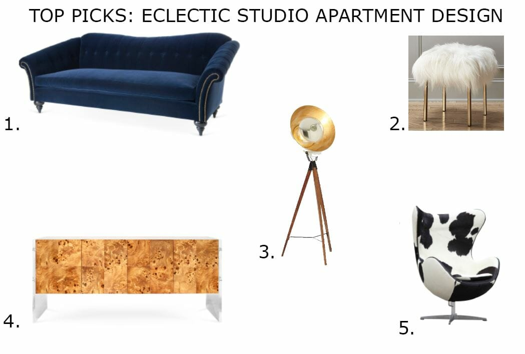 eclectic studio apartment design online decorilla top picks