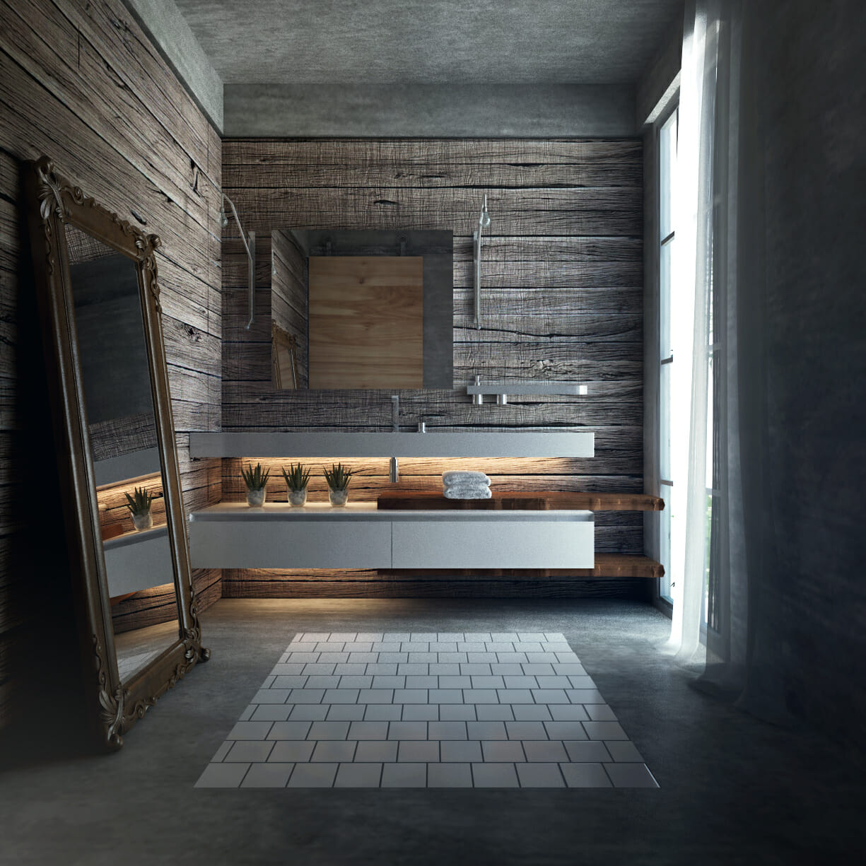 modern farmhouse Ibrahim H. reclaimed wood wall feature