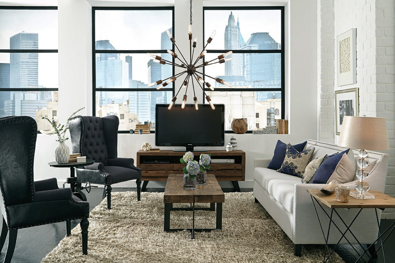 modern farmhouse luca c living room with focal light