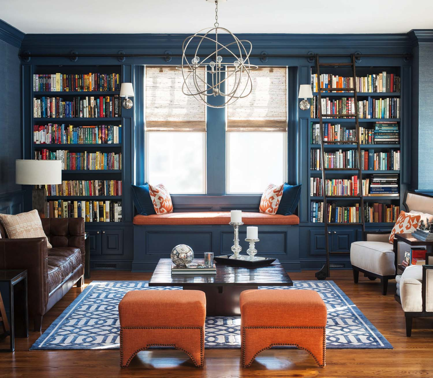 Before after moody online library interior design