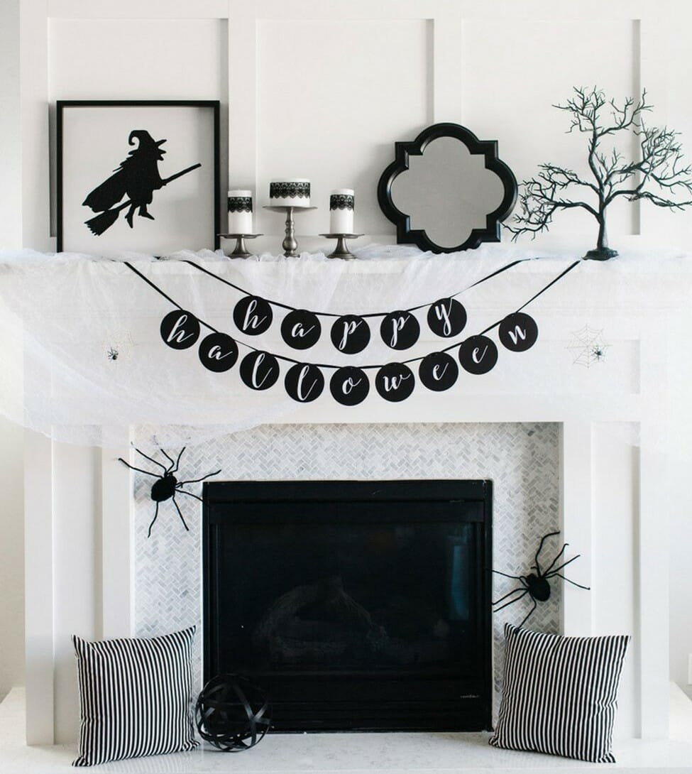 modern halloween decorations black and white