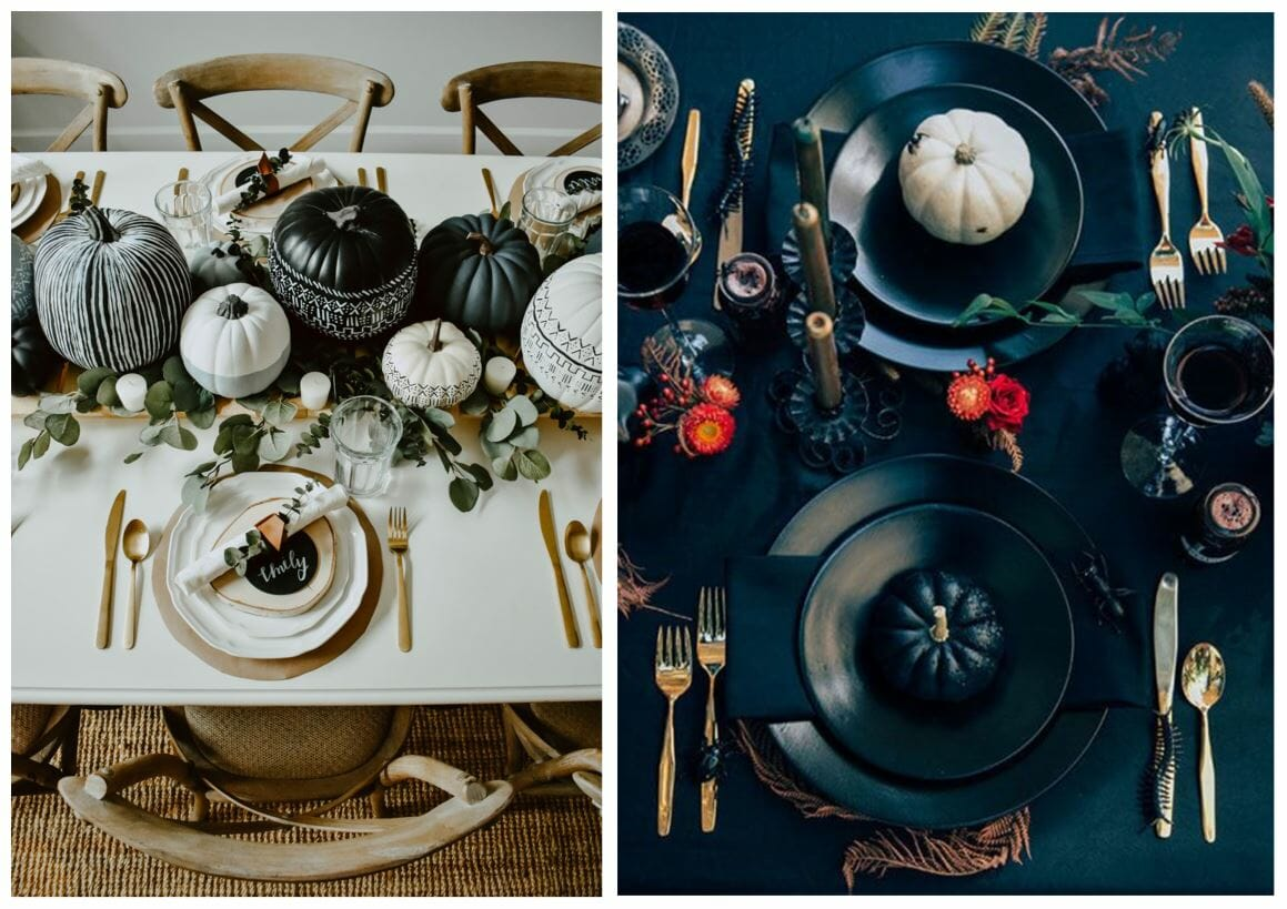 modern halloween decorations set the table