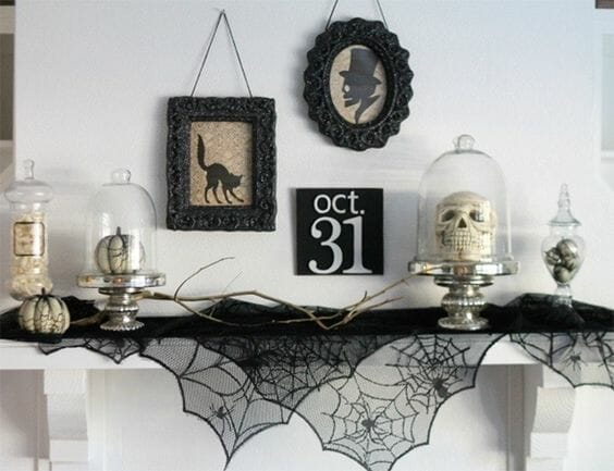 modern halloween decorations skull on mantle