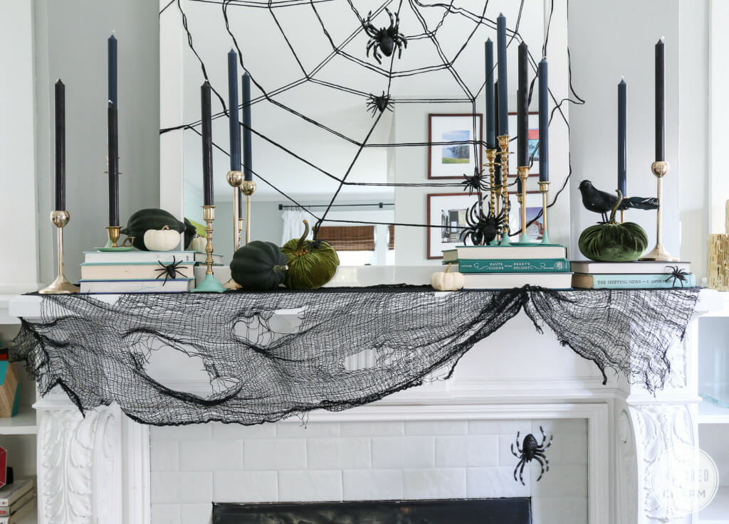 modern halloween decorations spider web mirror