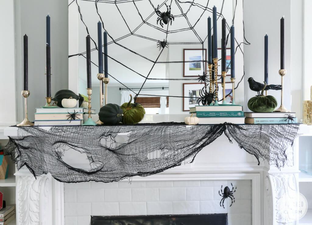 modern halloween decorations spider web mirror
