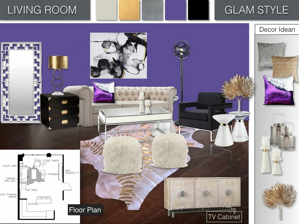have fun with the virtual room decorator virtual decorating Fpuner Designs, E-Design Style Board