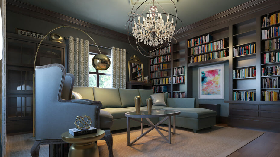 online library interior design modern home library