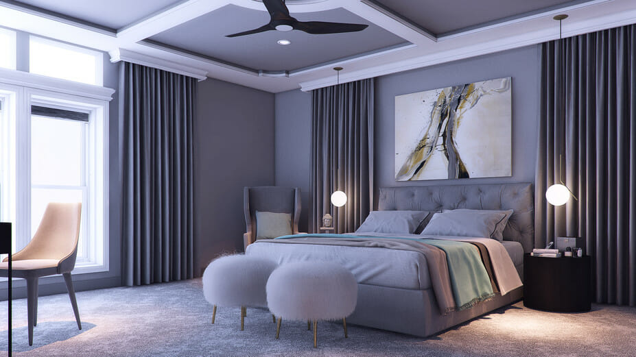 romantic bedroom online design by Decorilla designer Miaden C.