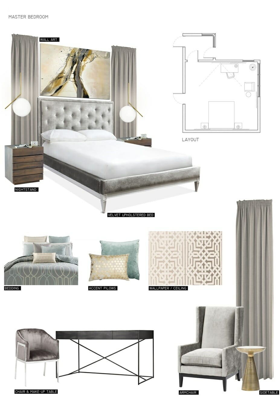 romantic bedroom online design by Decorilla designer Miaden C. - mood board