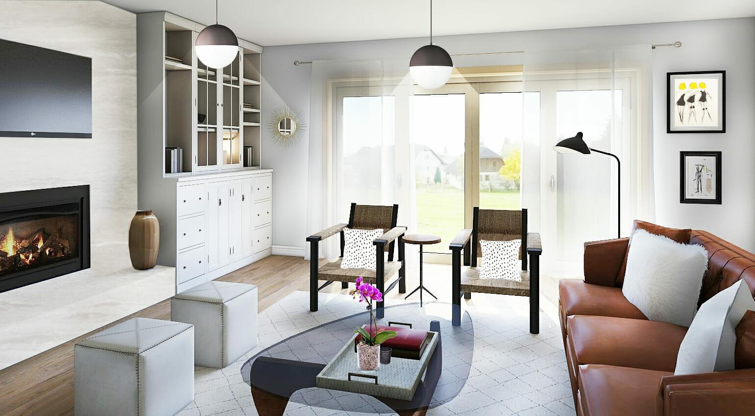 Boho modern living room by Decorilla and top Boston interior designer