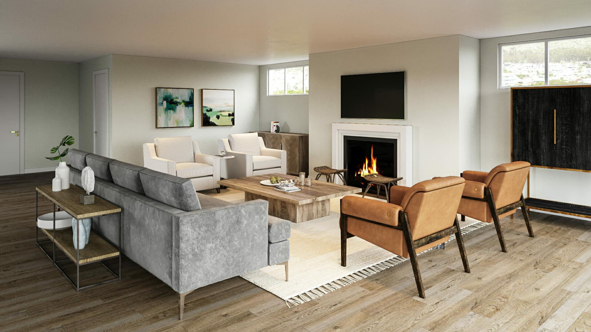 Cozy contemporary living room by Decorilla and Boston interior decorator, Ashley H.