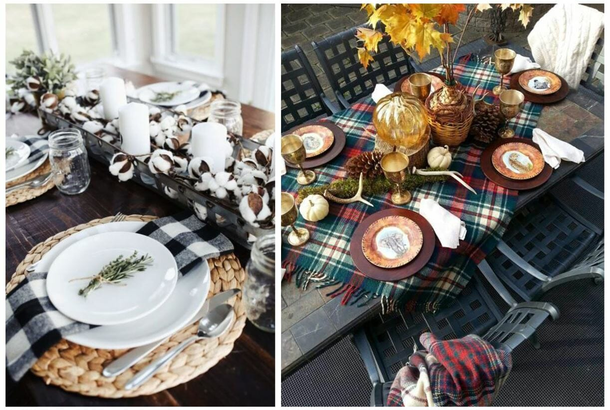 fall table decorating ideas plaid napkin