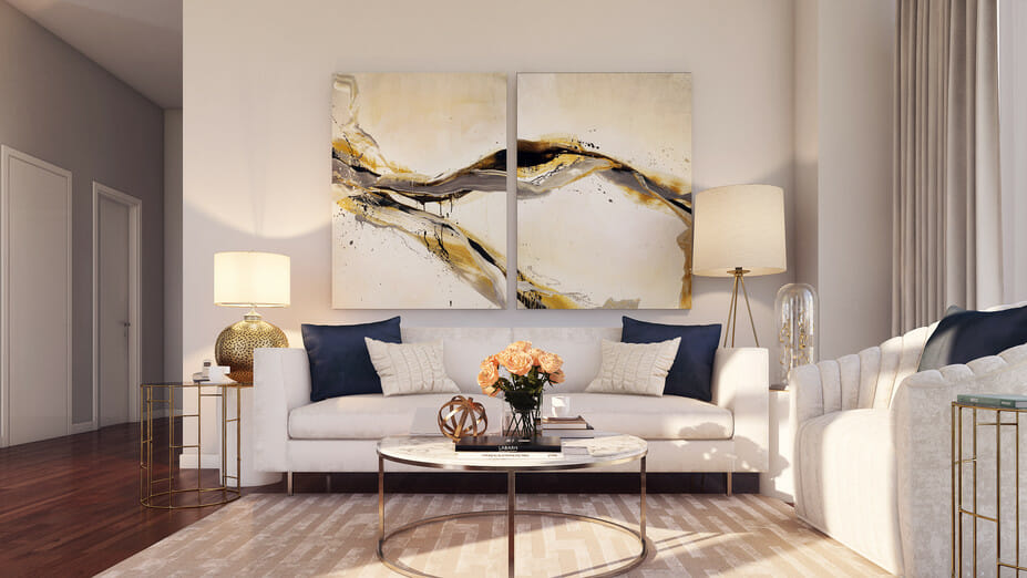 modern apartment design with abstract contemporary art