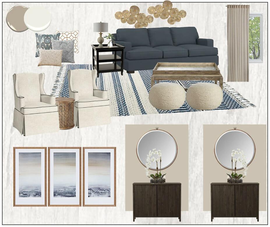 transitional online living room design_moodboard