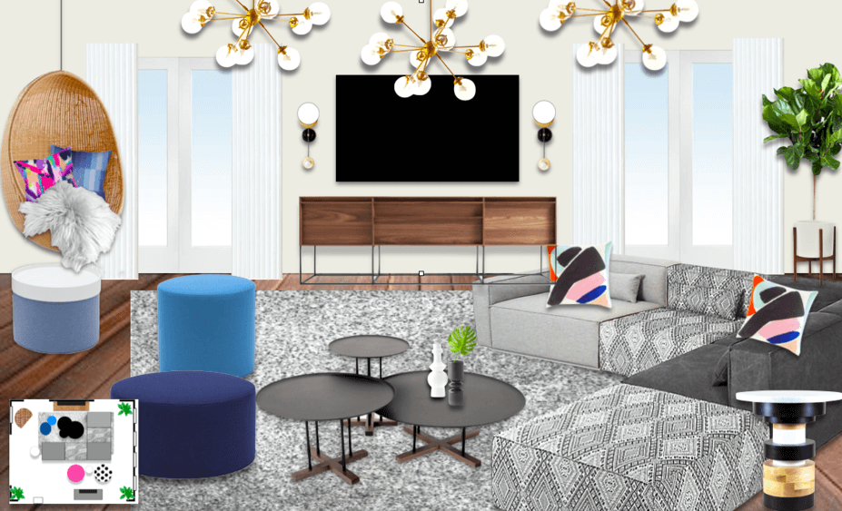 decorilla designer michelle b. creates modern living room