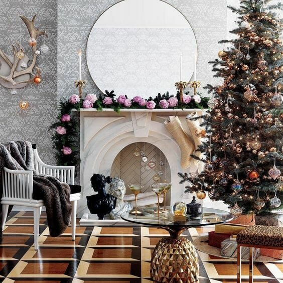 holiday decor trends asymmetrical mantle 1