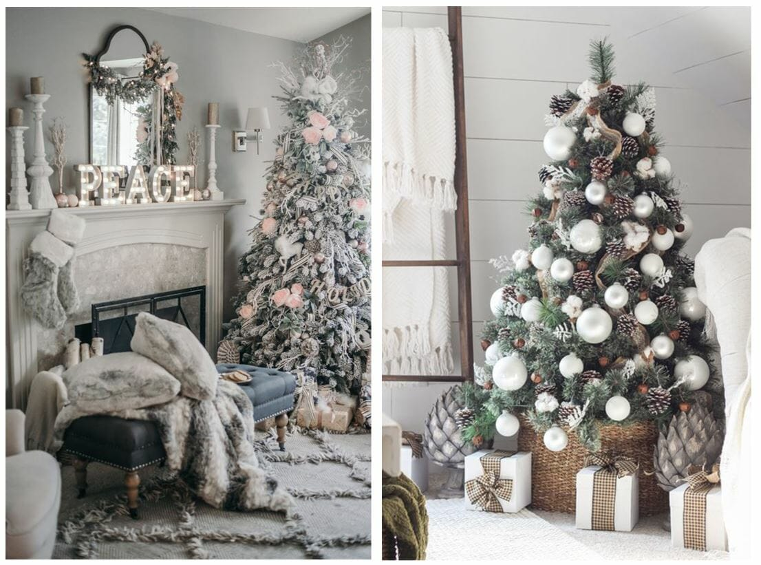 modern christmas tree ideas neutral