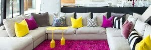modern living room bright colors pink and yellow