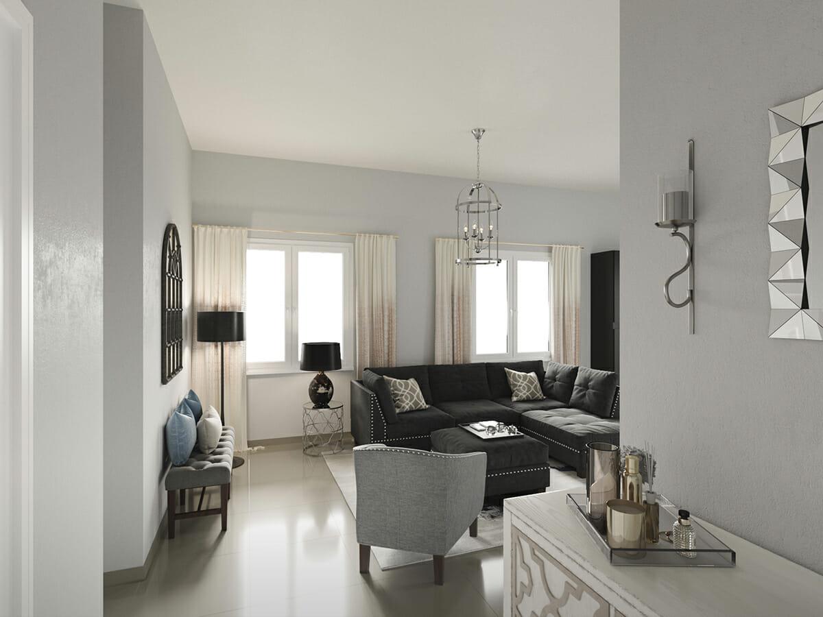sophisticated living room from online interior designer