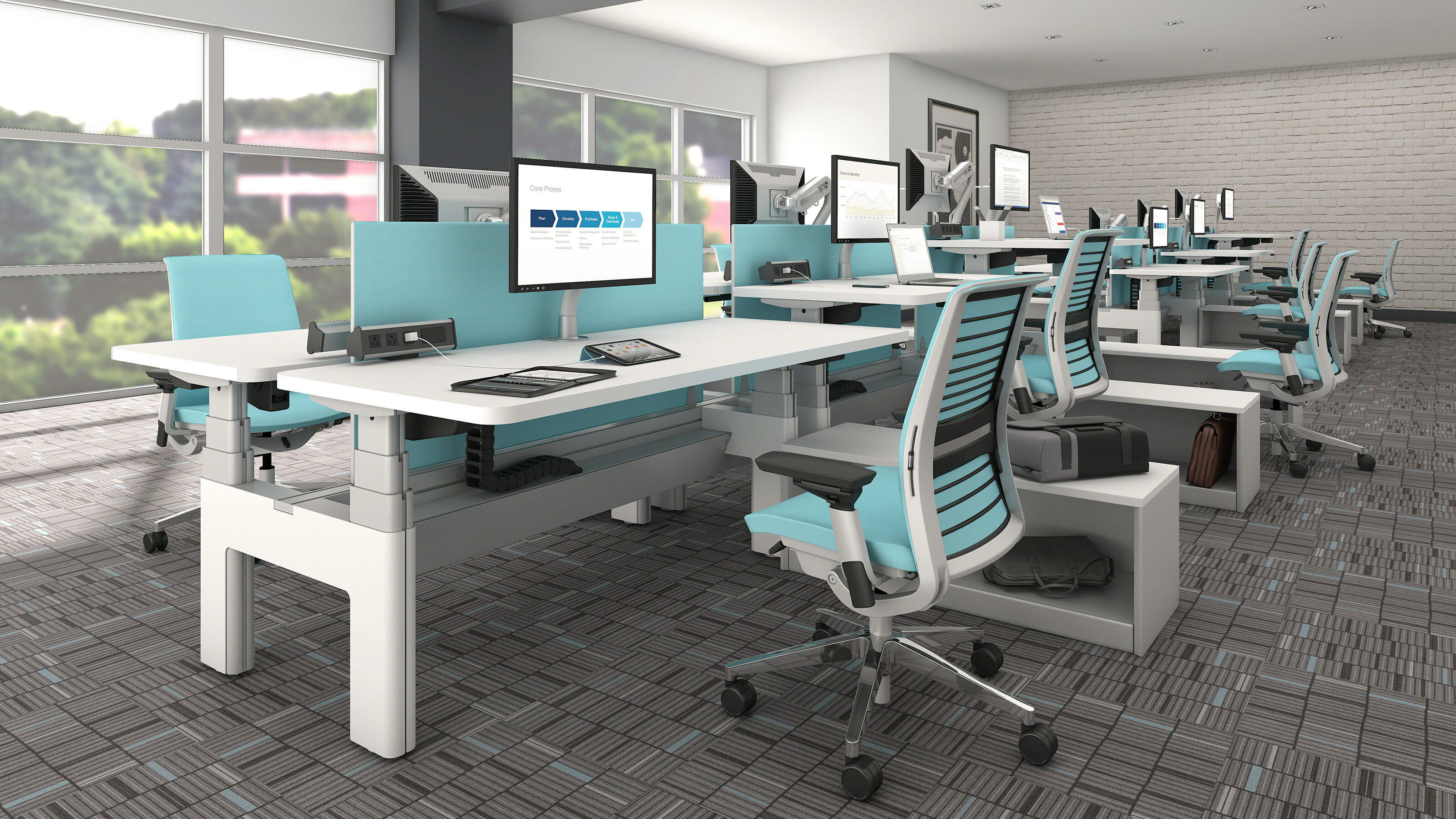 steelcase series bench modern office design furniture solutions desk with outlet plug