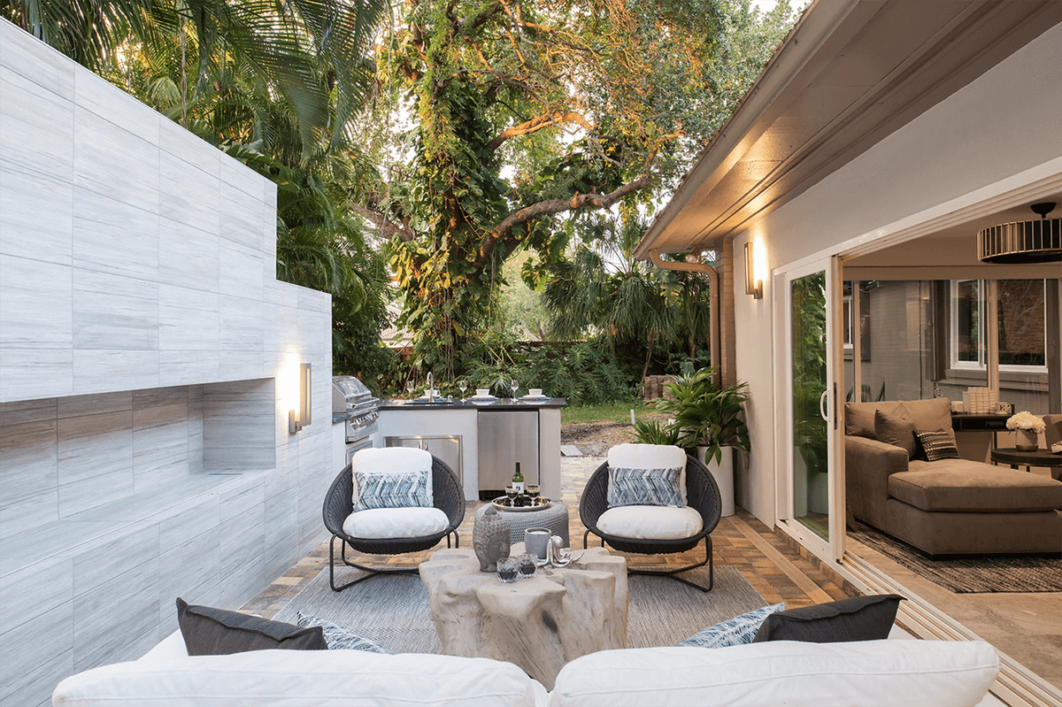 Luxurious interior design outdoor lounge