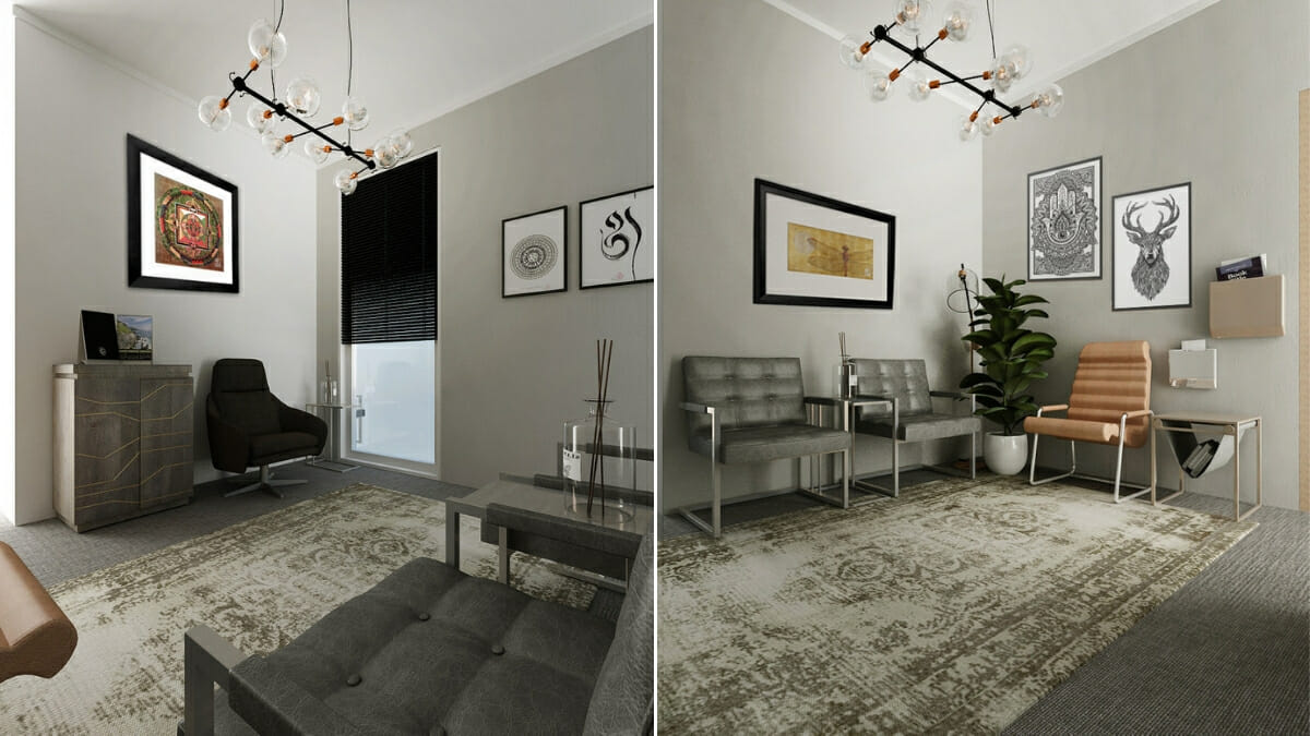 Before After Sophisticated And Modern Therapist Office Interior Design Decorilla
