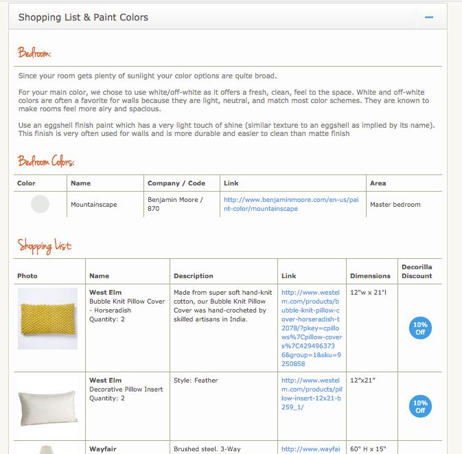 online interior design services Decorilla shopping list