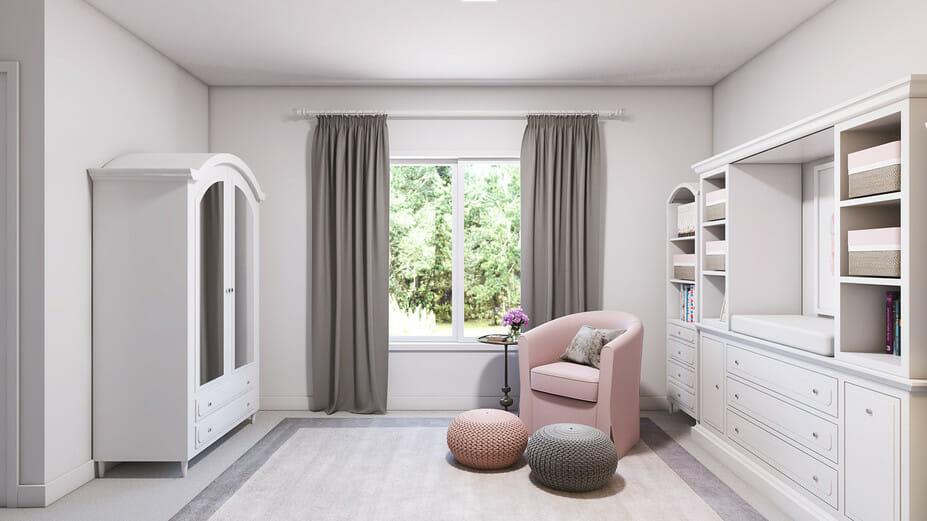 pink & gray contemporary nursery interior design