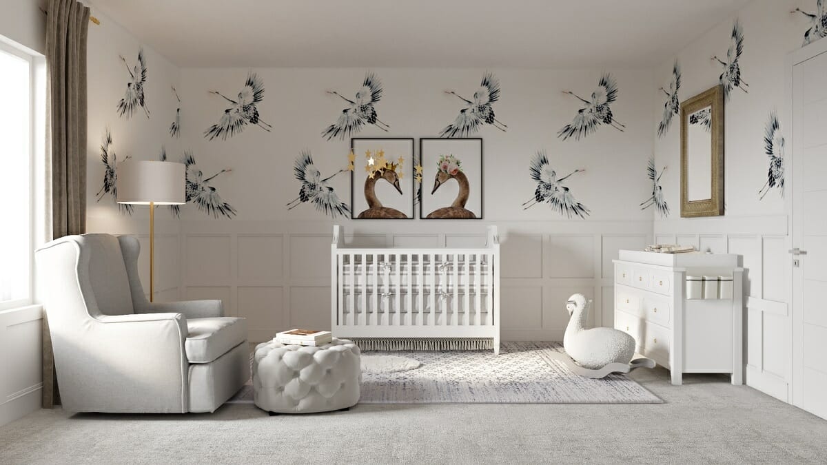 nursery interior design wallpaper crib