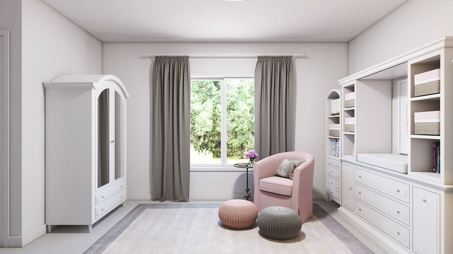 pink & gray contemporary nursery interior design