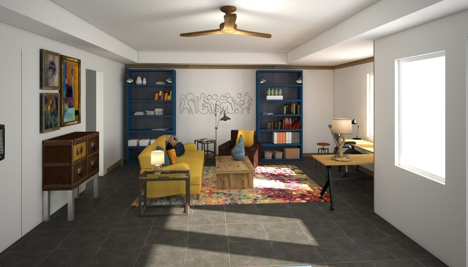 airy yoga room design
